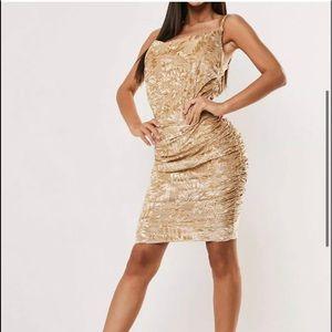 Missguided Floral Nude Devore Ruched Slip Dress